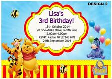 1 x WINNIE POOH CHILDRENS PERSONALISED BIRTHDAY INVITES INVITATIONS + MAGNETS