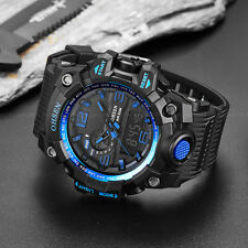 OHSEN Mens G Army Light Date Chronograph Shock Blue Digital Quartz Wrist Watches