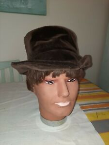 Mens Brown Plush Soft Victorian Style Hat Dickens Oliver Twist Stage