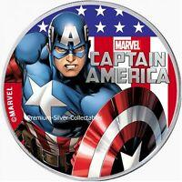 2019 Tuvalu Marvel Series Captain America - 1 Ounce Pure Silver Colorized!!
