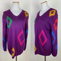 VTG 80s 90s Rainbow Diamond Sweater M Grape Purple Acrylic Knit V-neck Pop Art