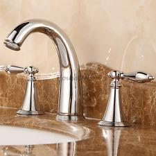 Modern Chrome Bathroom Monobloc Sink Basin Mixer Tap Dual Handle Faucet 3 Hole