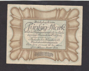 50 MARK VERY FINE-FINE BANKNOTE FROM GERMANY 1918 PICK-65