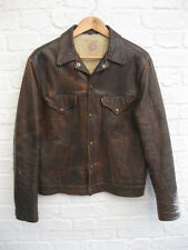 "Vintage Levis BIG E SHORTHORN Brown Leather Shearling Fur Jacket. Chest 40"" UK M"