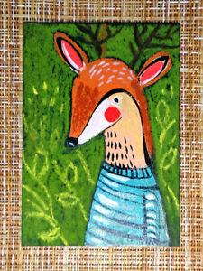 ACEO original pastel painting outsider folk art brut #010539 surreal funny deer