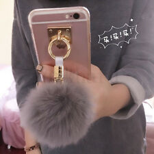 For iPhone 7 & Samsung Galaxy Phone Luxury Warm Rabbit Fur Ball Clear Case Cover