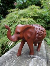 FairTrade Hand Carved Made Wooden Ornate Indonesian Animal Wild Elephant Statue