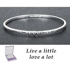 equilibrium silver plated live love sentiment bangle bracelet present gift