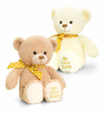 Genuine Keel Toys Cream Or Brown My First Teddy Bear Yellow & White Polka Ribbon