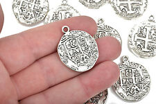 5 Silver Coin Relic Charm Pendants, round coin charms, silver, 30x25mm, chs2664