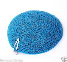 Knitted 17 cm Turquoise Kippah Jewish Judaica Yarmulke Synagogue w Free Clip