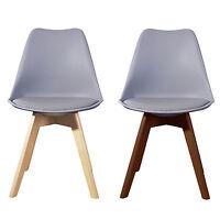 GREY Jamie Dining Chair Wooden Retro Designer Soft Pad Faux Leather Walnut/Pine