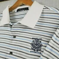 WHISTLING STRAITS x CARNOUSTIE Size XL Mens Golf Polo Shirt White Striped