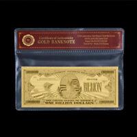 WR US $ 1 Billion Dollar Banknote Goldfolie Geldschein Big Value