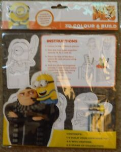 DESPICABLE ME 3 3D MINIONS COLOUR & BUILD DESK TIDY 9 CHARACTERS 4 WAX CRAYONS