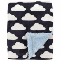 Hudson Baby Boy Blanket with Sherpa Back, Blue Clouds