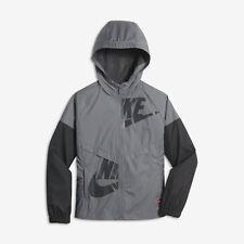 Nike Girls Sportswear Windrunner Big Kids Full Zip Jacket L Gray Gym Casual New