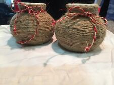 NWOT! Pair Of Twine Wrapped Ceramic Vases/Pots