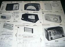 Lot 9 Radio Service Photofact: MOTOROLA 54X1, G.E 520A SONY TR-624, SIGNAL 241,