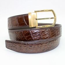 N0 JOINTED Brown Genuine Crocodile Alligator Skin Bally Leather Belt 3.8cm Width