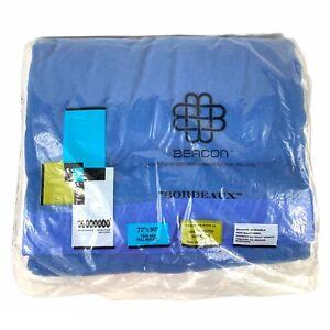 "Vintage Beacon Blue 'Bordeaux' Blanket Satin Trim Twin Full 72"" x 90"" NEW"