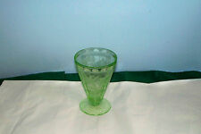 """VINTAGE FLORAL GREEN DEPRESSION GLASS FOOTED TUMBLER 4 5/8"""" POINSETTIA"""