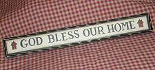 Primitive Carved look shelf sitter sign GOD BLESS OUR HOME