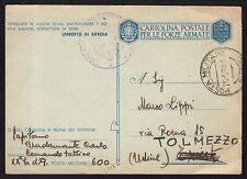 POSTA MILITARE 1943 Franchigia da PM 600 a Tolmezzo (M4)