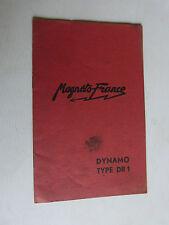 livret : notice n° 750 MAGNETO FRANCE dynamo type DR 1  pour moto