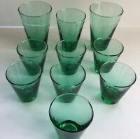 SET Of 10~LIBBEY'S Juniper Green Glasses Tumbler~Heavy Bottom~GORGEOUS!!!