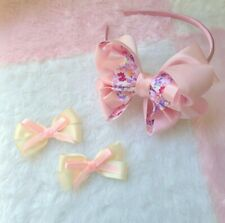 set Handmade hair bow with pink ribbon and floral print Headband for girl Hair c