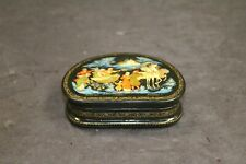 Russian Wooden Lacquer Painted Wedding Trinket Box S. Makarova