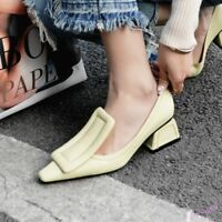 Spring Women's Pumps Geometric Heel Shoes Mary Jane Square Toe Casual Slip On