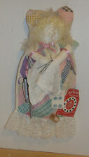 Vtg Angel Doll Old Quilt-Lace-Vtg Hairpins-Perm Rollers-Hanky-Buttons-Thread-Key