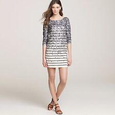 "J CREW ""Merino Confetti Stripe"" Ivory Navy Blue Sequin Sweater Dress Size XS / S"