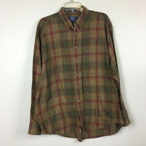 Pendleton Men's Brown Plaid 100% Cotton Flannel Button Up Shirt -Size XL