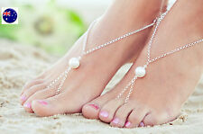 2x Women Lady Beach Party Bride Bridemaid Sandals Pearl Foot Toe Chain Anklets