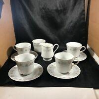 Set of 5 Vintage CHINA FIRST Japan Porcelain Floral Tea Cups Saucers and Creamer