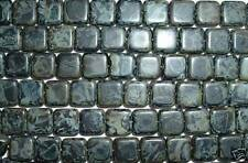 AL59 CZECH 9mm Flat SQUARE Glass Beads-BLACK PICASSO-25