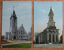 Lot Of 2 Different 1908-11 Postcards Of 2 Congregational Church'S Brockton Mass