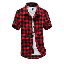 Men Classic Casual Plaid Check Shirt Short Sleeve Slim Fit T-shirt Top Tee M-3XL
