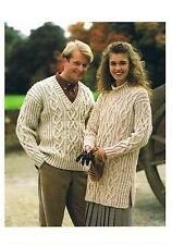 Knitting Pattern Ladies Aran Tunic Top Gents v-neck Sweater PATTERN ONLY #pg00