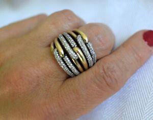 David Yurman Triple Labyrinth Ring 18k Gold & Sterling Silver Diamonds-7.5
