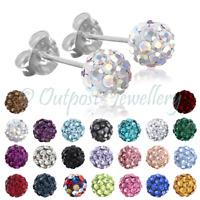 Shamballa Earrings Ear Studs Real Sterling Silver 925 Crystal Disco Ball Glitter