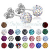 Shamballa Earrings Ear Studs Real Sterling Silver 925 Crystal Disco Ball Glitter