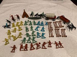 Vintage Cowboys Indians Horses Soldiers Plastic Figures Lot