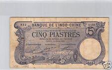 Bank- des'Indochina Saigon 5 Piaster 28 Oktober 1916 Z.158 Nr. 832 Pick 37b