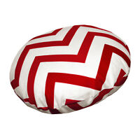 le02n Red Off White Zig Zag Cotton Canvas Round Cushion/Pillow Cover Custom Size