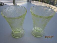 "Yellow Vaseline Depression Etched glass Vintage Retro dessert set of 2 4"" tall"