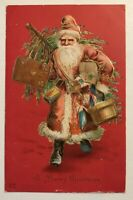 Long Red Robe~Santa Claus with Tree & Gifts~ Antique ~Christmas Postcard--s635